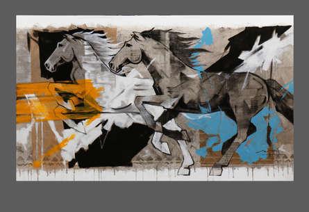 Animals Acrylic Art Painting title 'HORSE SERIES -162' by artist Devidas Dharmadhikari