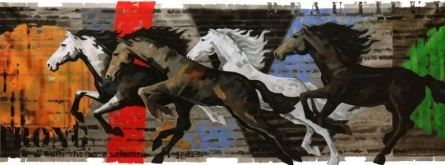 Animals Acrylic Art Painting title 'Galloping Horse 2' by artist Devidas Dharmadhikari