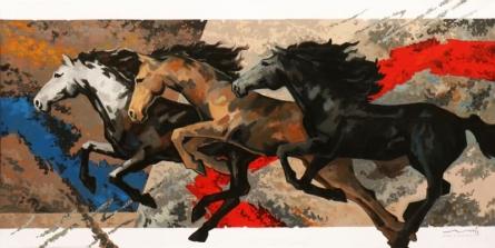 Devidas Dharmadhikari | Acrylic Painting title Galloping Horses 1 on Canvas | Artist Devidas Dharmadhikari Gallery | ArtZolo.com