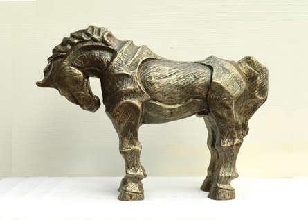 Fiberglass Sculpture titled 'Horse 3' by artist Devidas Dharmadhikari