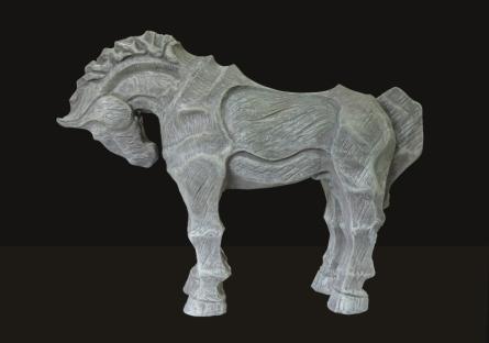 Fiberglass Sculpture titled 'Horse 4' by artist Devidas Dharmadhikari