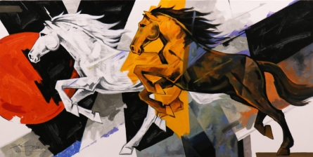 Animals Acrylic Art Painting title Horse Series 159 by artist Devidas Dharmadhikari