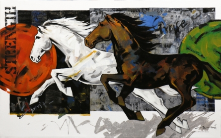 Animals Acrylic Art Painting title Horse Series 167 by artist Devidas Dharmadhikari