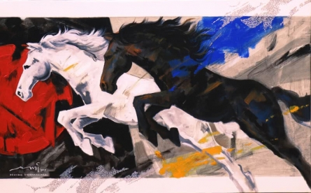 Animals Acrylic Art Painting title 'Horses Charging Forward' by artist Devidas Dharmadhikari