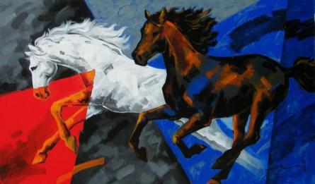 Running Horses 1 | Painting by artist Devidas Dharmadhikari | acrylic | Canvas
