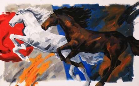 Running Horses 2 | Painting by artist Devidas Dharmadhikari | acrylic | Canvas