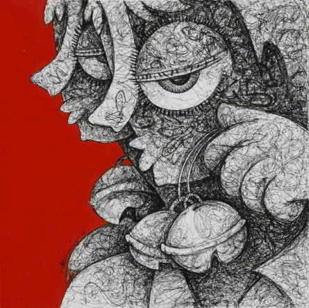 Mahavir Verma | Acrylic-ink Painting title Untitled 10 on paper | Artist Mahavir Verma Gallery | ArtZolo.com