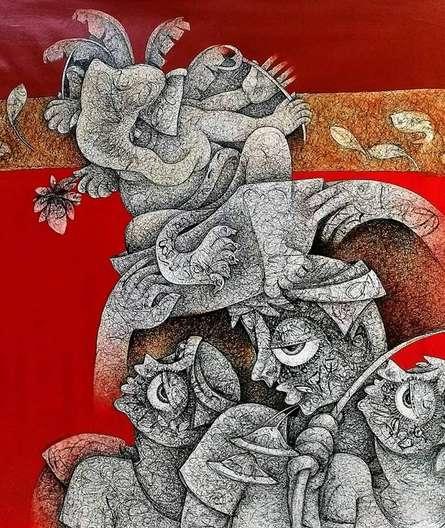 Mahavir Verma | Acrylic Painting title Untitled 1 on Canvas | Artist Mahavir Verma Gallery | ArtZolo.com