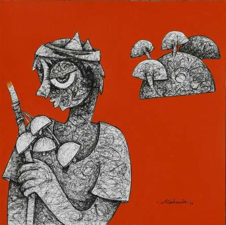 Mahavir Verma | Acrylic-ink Painting title Untitled 4 on paper | Artist Mahavir Verma Gallery | ArtZolo.com