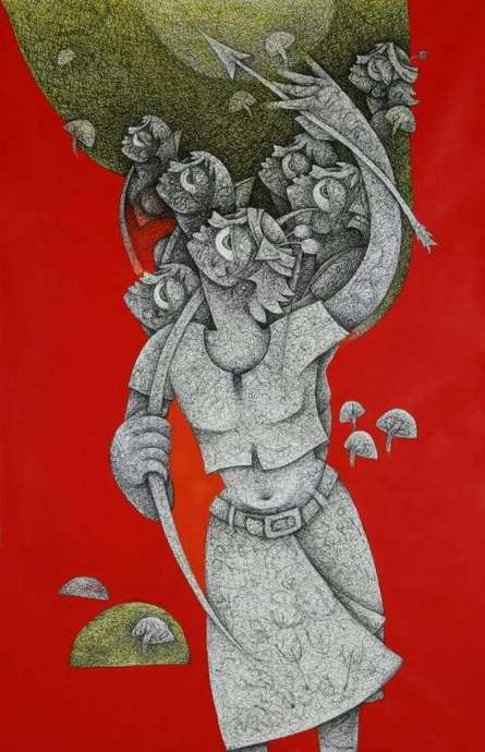 Figurative Acrylic-ink Art Painting title 'Untitled 5' by artist Mahavir Verma