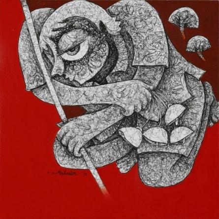 Untitled 9 | Painting by artist Mahavir Verma | acrylic-ink | paper