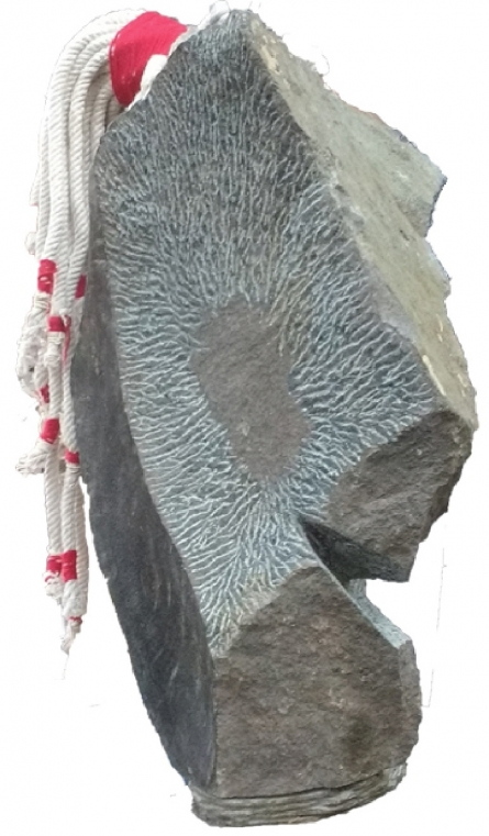 Selfportreat | Sculpture by artist Ashwam Salokhe | stone and thread