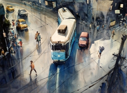 Cityscape Watercolor Art Painting title 'Monsoon Kolkata 1' by artist Sankar Das