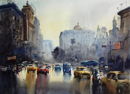 Cityscape Watercolor Art Painting title 'Monsoon Kolkata 3' by artist Sankar Das