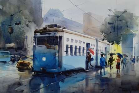 Cityscape Watercolor Art Painting title Monsoon Kolkata 4 by artist Sankar Das