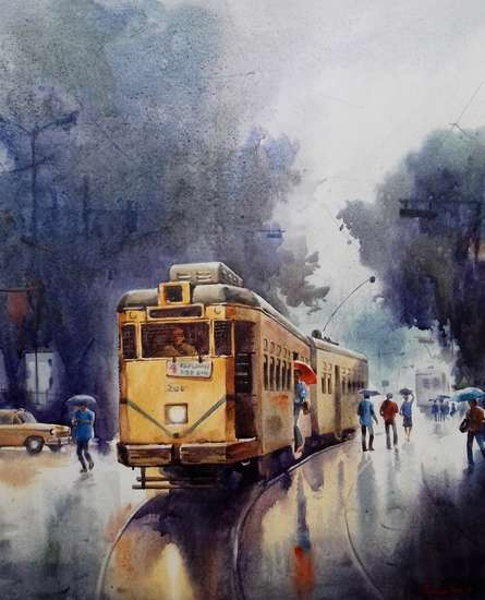 Monsoon Kolkata 5 | Painting by artist Sankar Das | acrylic | canvas