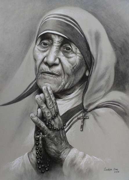 Figurative Charcoal-pastel Art Drawing title Mother Teresa 1 by artist Sankar Das
