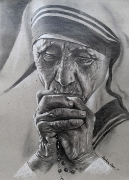 Figurative Charcoal-pastel Art Drawing title Mother Teresa 2 by artist Sankar Das