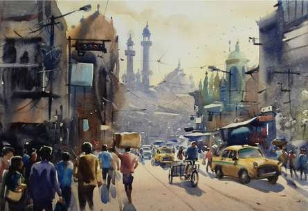 Sankar Das | Watercolor Painting title My City Kolkata 2 on paper | Artist Sankar Das Gallery | ArtZolo.com
