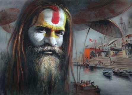 Soft-pastel Paintings | Drawing title Sadhu on paper | Artist Sankar Das