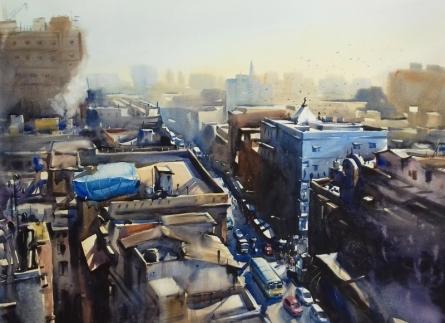 Cityscape Watercolor Art Painting title 'Top View Of Kolkata' by artist Sankar Das