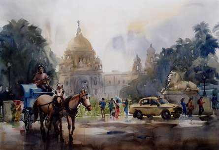 Cityscape Watercolor Art Painting title 'Victoria Memorial 1' by artist Sankar Das