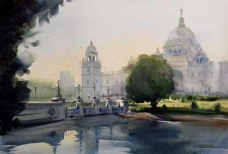 Cityscape Watercolor Art Painting title 'Victoria Memorial 2' by artist Sankar Das
