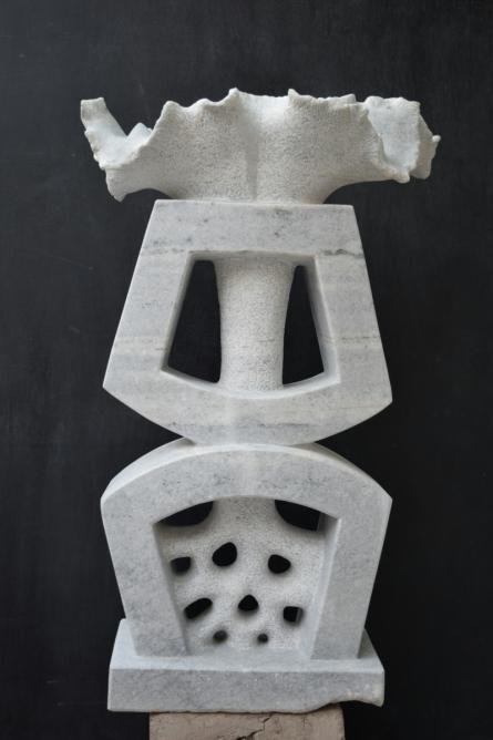 Marble Sculpture titled 'Blooming Nature 2' by artist Pankaj Gahlot
