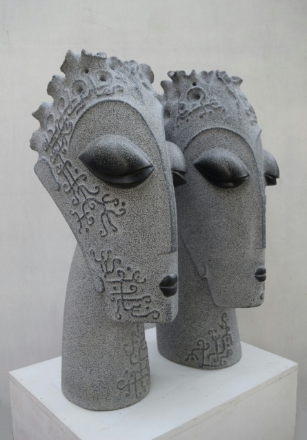 Black Marble Sculpture titled 'Couple 2' by artist Pankaj Gahlot