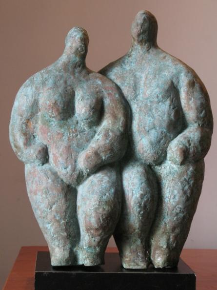 Shankar Ghosh | Couple 2 Sculpture by artist Shankar Ghosh on Bronze | ArtZolo.com