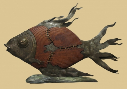 Big Fish | Sculpture by artist Subrata Paul | Bronze, Wood