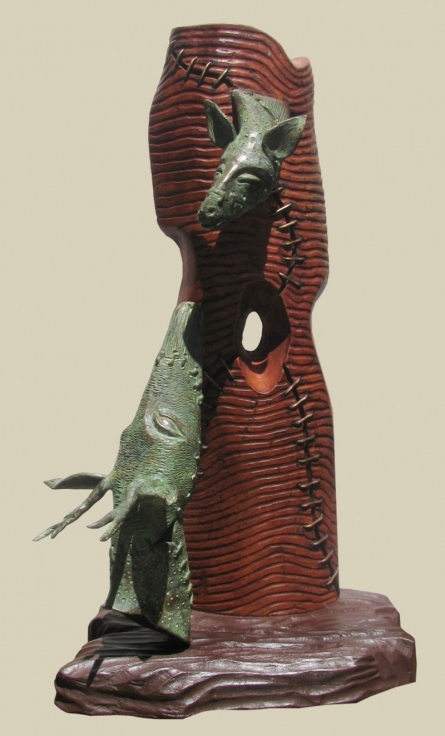 Bronze, Wood Sculpture titled 'Relation' by artist Subrata Paul