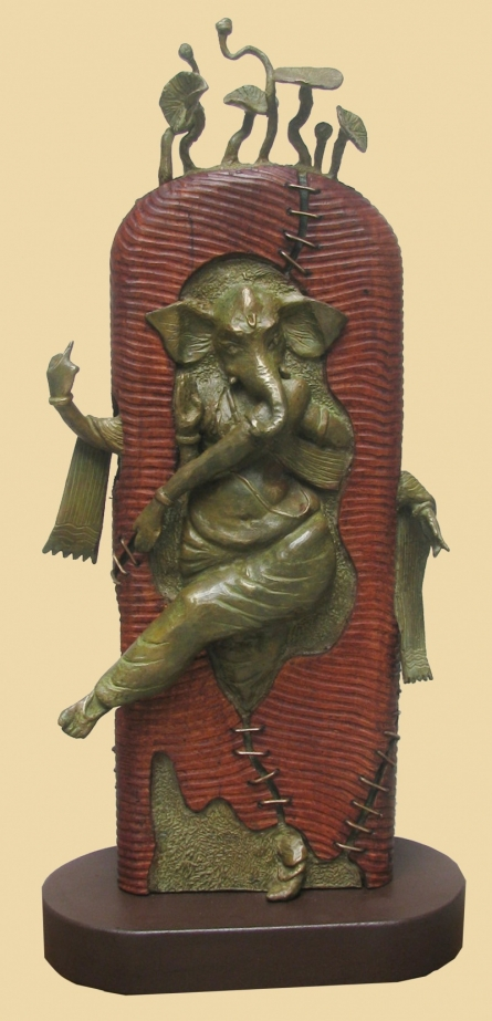 Subrata Paul | Rhythm Ganesha Sculpture by artist Subrata Paul on Bronze, Wood | ArtZolo.com