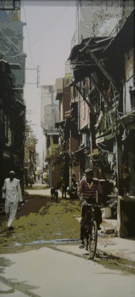 Figurative Acrylic Art Painting title 'Street View 1' by artist Dinesh Sharimali