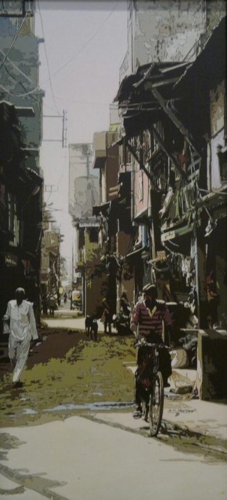 Figurative Acrylic Art Painting title Street View 1 by artist Dinesh Sharimali