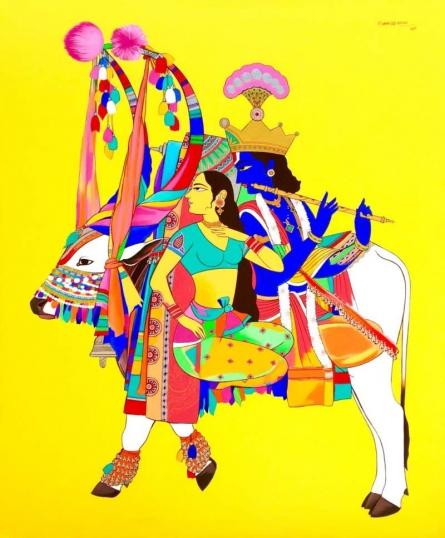 Mohammed Osman | Acrylic Painting title Krishna Radha 1 on Canvas | Artist Mohammed Osman Gallery | ArtZolo.com