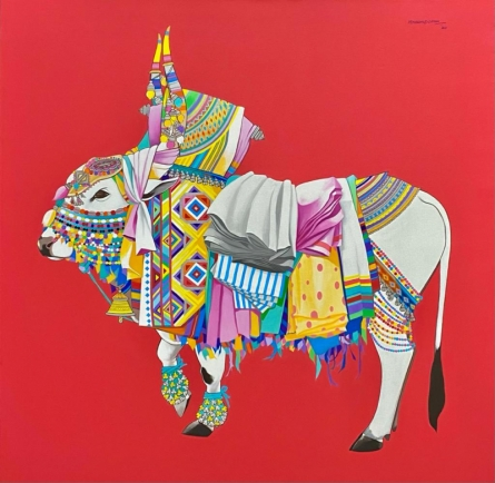 Religious Acrylic Art Painting title Nandi by artist Mohammed Osman