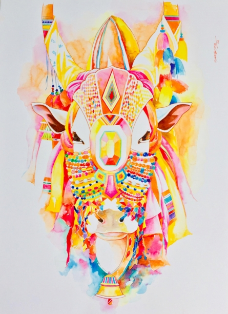 Religious Watercolor Art Painting title Nandi 5 by artist Mohammed Osman
