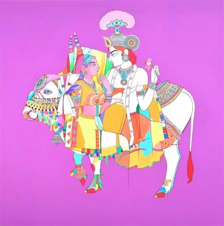 Religious Acrylic Art Painting title Radha Krishna 3 by artist Mohammed Osman