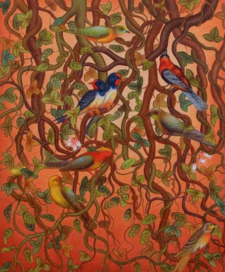 Animals Acrylic Art Painting title 'Bird Series' by artist Roy K John