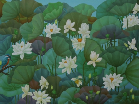 Roy K John | Acrylic Painting title Lotus Series 1 on Canvas | Artist Roy K John Gallery | ArtZolo.com