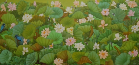 Animals Acrylic Art Painting title 'Lotus Series 2' by artist Roy K John