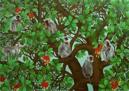 Animals Acrylic Art Painting title 'Monkeys' by artist Roy K John