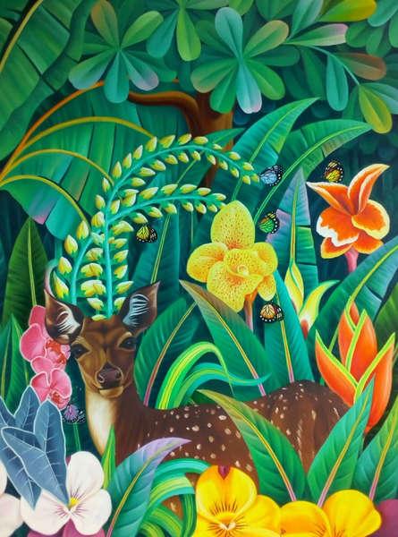 Animals Oil Art Painting title 'Flora and Fauna' by artist Murali Nagapuzha