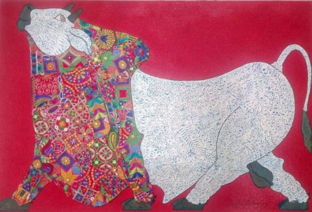 Animals Mixed-media Art Painting title 'Bull Kutch Work' by artist Sreekanth Kurva