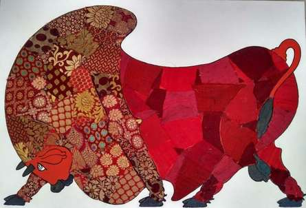 Red Bull - Banarasi Silk | Painting by artist Sreekanth Kurva | mixed-media | Canvas