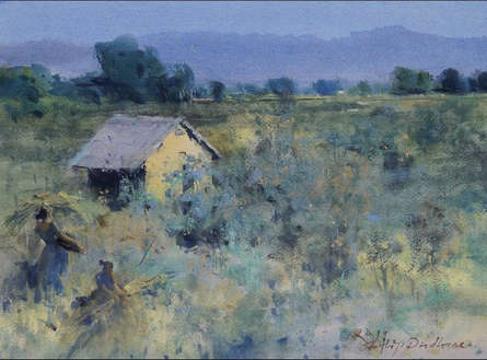 Landscape Mixed-media Art Painting title Back Home by artist Dilip Dudhane