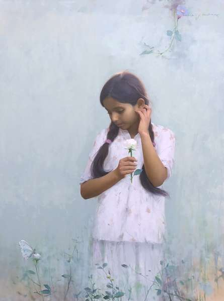 Figurative Oil Art Painting title Butterfly by artist Dilip Dudhane