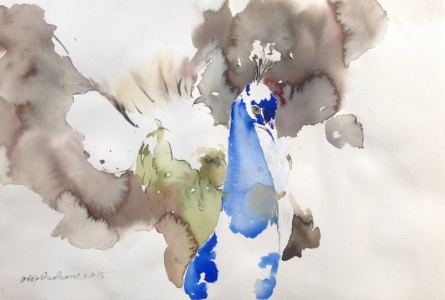 Dilip Dudhane | Watercolor Painting title Untitled 10 on Paper | Artist Dilip Dudhane Gallery | ArtZolo.com