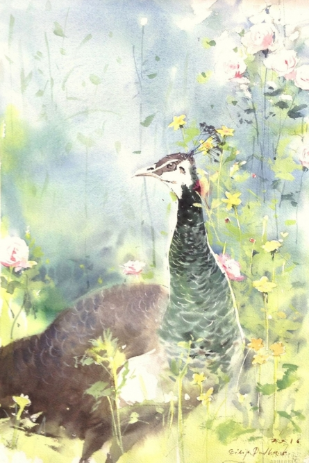 Animals Watercolor Art Painting title 'Untitled 11' by artist Dilip Dudhane